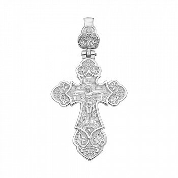 Серебряный крестик с узорами 000117895