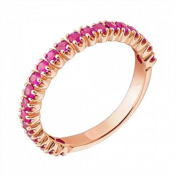 Золотое кольцо в красном цвете с рубинами 000098950