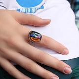 Серебряное кольцо с имитацией опала Гобелен