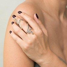 Золотое фаланговое кольцо Змейки с черными, белыми и зелеными фианитами