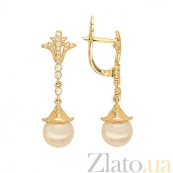 Серьги-подвески из желтого золота с розовым жемчугом Афродита VLT--ТТ2429