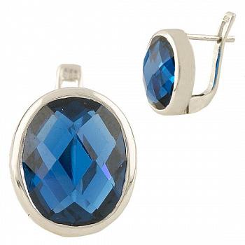 Серебряные серьги Серафима с синтезированным синим топазом