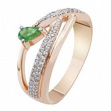 Золотое кольцо с бриллиантами и изумрудом Аура