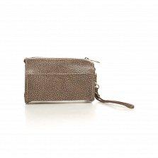 Кожаный клатч-саквояжик Genuine Leather 8057 цвета тауп с короткой ручкой на запятье