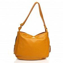 Кожаная сумка на каждый день Genuine Leather 8948 коньячного цвета с декоративной молнией на торце