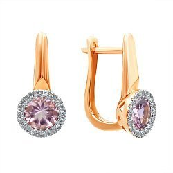 Золотые серьги в комбинированном цвете с турмалинами и бриллиантами 000139525