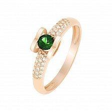 Кольцо в красном золоте Агния с изумрудом и бриллиантами