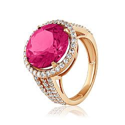 Золотое кольцо Страсть с корундом рубина и фианитами 000053298