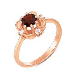 Золотое кольцо в красном цвете с гранатом
