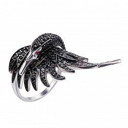 Золотое кольцо Прекрасный лебедь в белом цвете с черными и красными фианитами