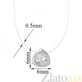 Колье на леске Триллион в белом золоте с фианитом 000097281