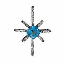 Кулон из белого золота Морозная звезда с голубым топазом и фианитами