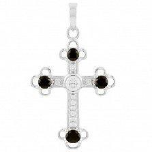 Серебряный крестик Мери с сапфирами и фианитами