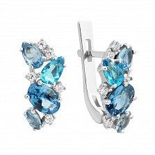 Серебряные серьги Шейла с голубым кварцем и фианитами