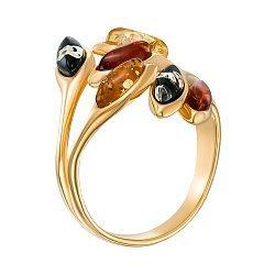 Серебряное позолоченное кольцо с янтарем  000137639