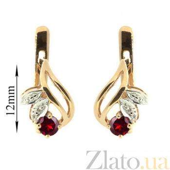 Купить Серьги из красного золота с гранатами и бриллиантами Подарок природы ZMX--EGn-15678_K в интернет магазине Злато