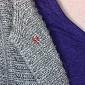 Серебряная булавка с красной эмалью Бабочка LEL--09062