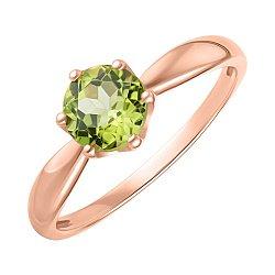 Кольцо из красного золота с хризолитом 000147823