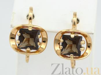 Серьги из красного золота с раухтопазами Заир VLN--113-814-2