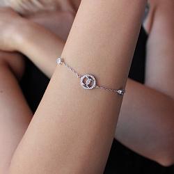 Серебряный браслет Знаки внимания с фианитами в стиле Шанель