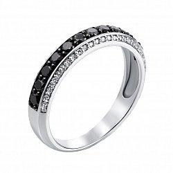 Кольцо в белом золоте Регина с черными и белыми бриллиантами 000124579