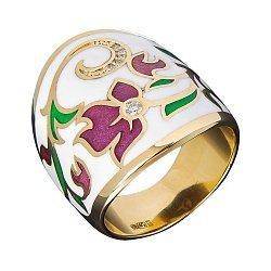 Кольцо в желтом золоте с бриллиантами и эмалью 000073396