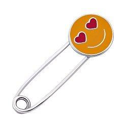Серебряная булавка Влюбленный смайлик с желтой и красной эмалью