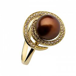 Золотое кольцо с коричневым жемчугом и бриллиантами Миранда