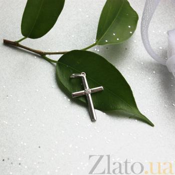 Золотой декоративный крестик Внутренняя гармония в белом цвете с бриллиантом 000045861