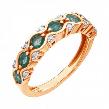 Золотое кольцо в комбинированном цвете с изумрудами и бриллиантами 000139387