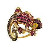 Кольцо из желтого золота Рептилия с фианитами