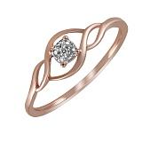 Кольцо Елена из красного золота с бриллиантом