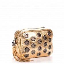 Кожаный клатч Genuine Leather 1617 золотистого цвета с декоративной перфорацией и замком-молнией