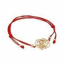 Шелковый браслет Дикая роза с золотой вставкой в красном цвете