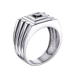 Серебряный перстень-печатка Гранд с черным кристаллом циркония