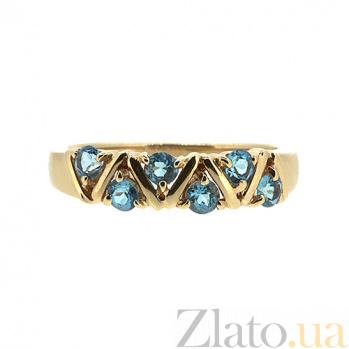 Золотое кольцо в красном цвете с голубыми топазами Иоланта ZMX--RT-32792_K