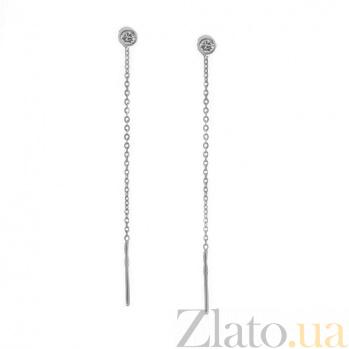 Серебряные серьги-протяжки Лита с фианитами 000044425