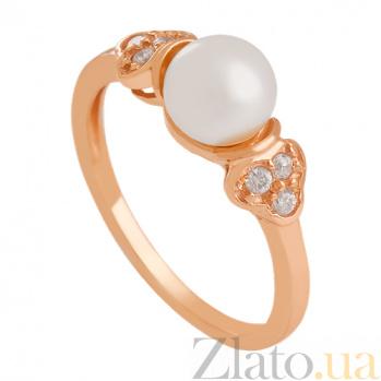 Золотое кольцо с жемчугом и фианитами Парижанка 000027246