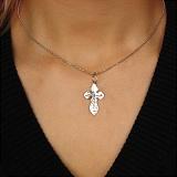 Родированный серебряный крестик Милосердие Господне с узорными насечками
