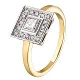 Кольцо из желтого золота с бриллиантами Ар-деко