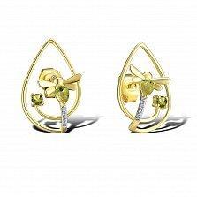 Серьги из желтого золота Ираида с бриллиантами и хризолитами
