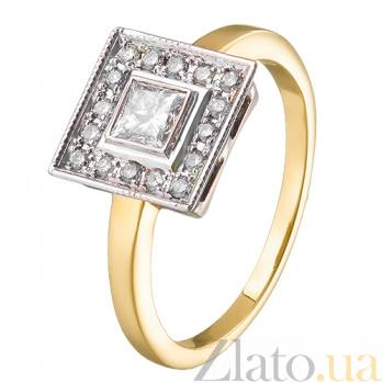 Кольцо из желтого золота с бриллиантами Ар-деко R 381