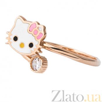 Золотое кольцо с фианитом и цветной эмалью Китти ONX--к03694