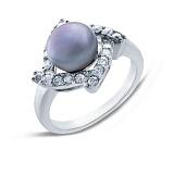 Серебряное кольцо с черным жемчугом Ночь