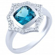 Серебряное кольцо Санджана с синтезированным топазом лондон и фианитами
