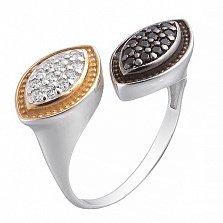 Серебряное кольцо Выбор с чёрными и белыми фианитами BGS--831 ч/б в интернет магазине Злато