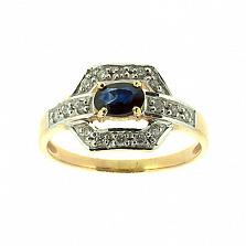 Золотое кольцо с сапфиром и бриллиантами Королева грез
