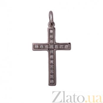 Крест из белого золота с фианитами Светлая душа 000026423