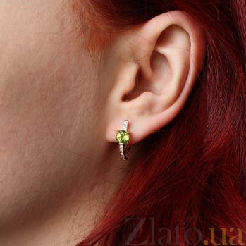 Золотые серьги с хризолитом Колдунья AUR--32377 07
