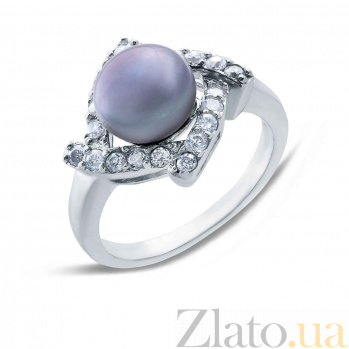 Серебряное кольцо с черным жемчугом Ночь AQA--R00632PB